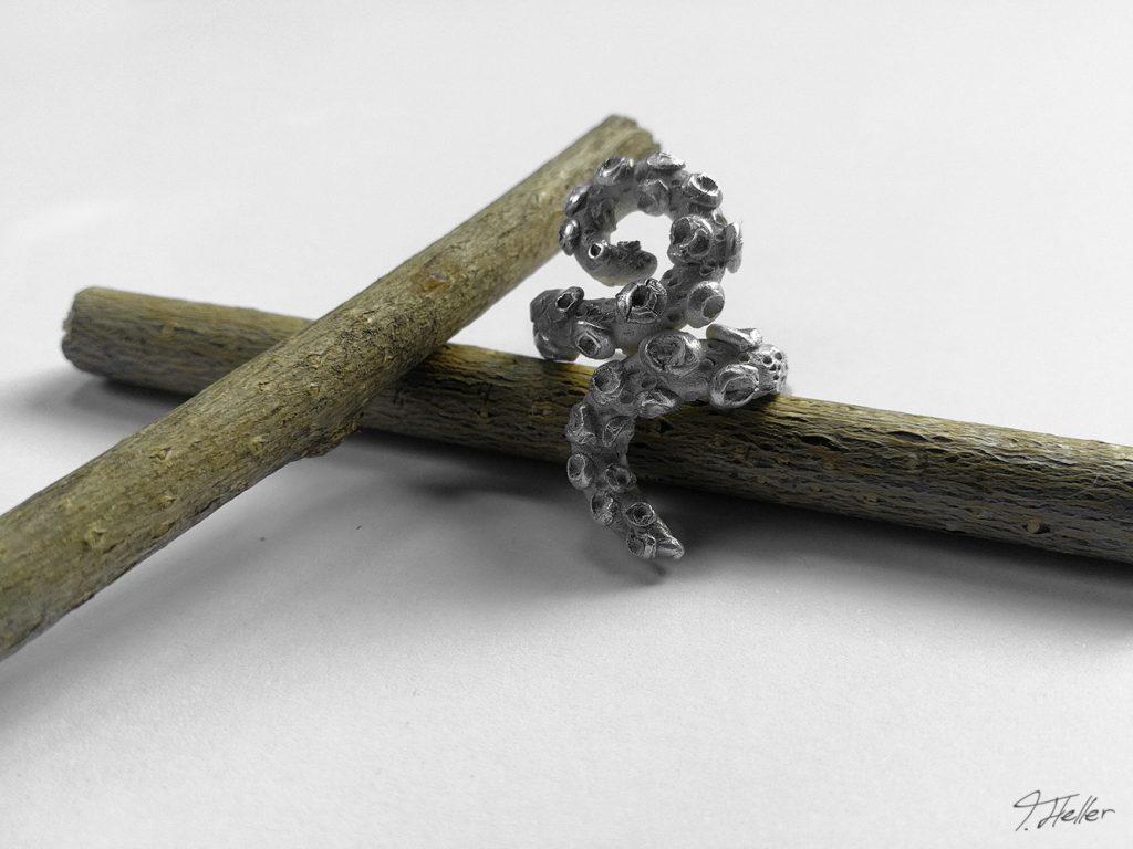 ring schmuck kette guß guss gießen metall wachs bronze silber natur libelle schmuckstück unikat tentakel oktopuss oktopus meer saugnapf
