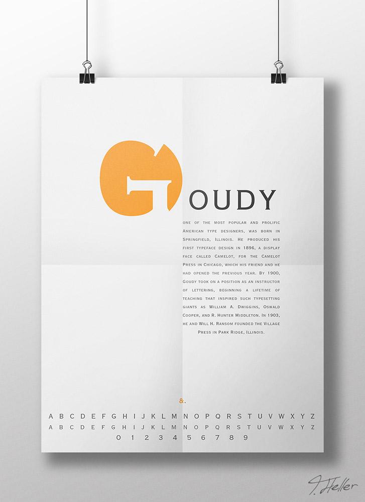 goudy typographie typografie copperplate serife orange zeichen schrift poster et-zeichen ampersand