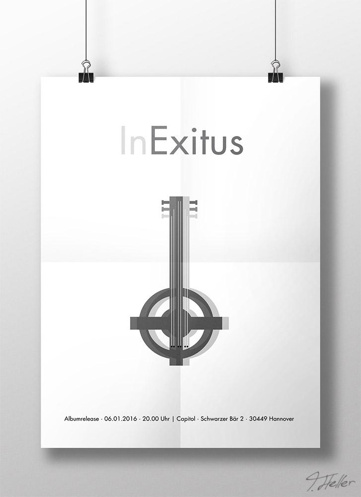 in exitus metal band schwedisch kreuz düster album musik release branding illustration poster fiktiv merchandise print medien ci cd