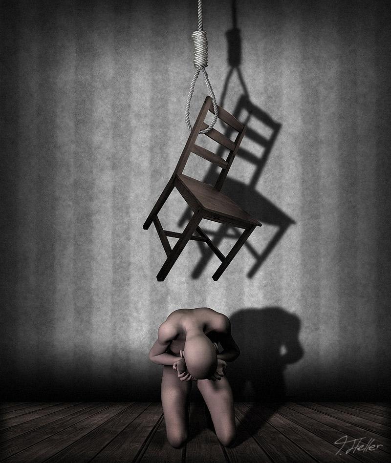 mensch stuhl seil henkersknoten poser photoshop düster depression