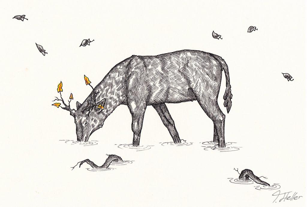 hirsch geweih baum schwarz weiß gelb orange tinte fineliner zeichnung analog zweig wurzeln symbiose