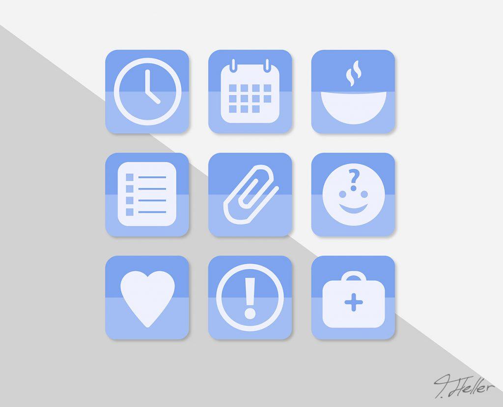 app mockup depressionen icons essen kalender rezepte zeit planung gefühle notruf therapeut vertrauensperson farbe wahl einkaufen vorschläge wecker tag tagesplanung zeitplan krank betroffen mental herz erste hilfe smilie büroklammer einkaufsliste uhr