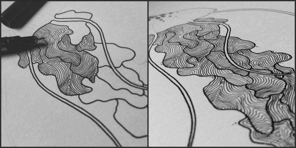 qualle fineliner aquarell digital analog mixed media meer meerestier tier karte muster tentakel biologie
