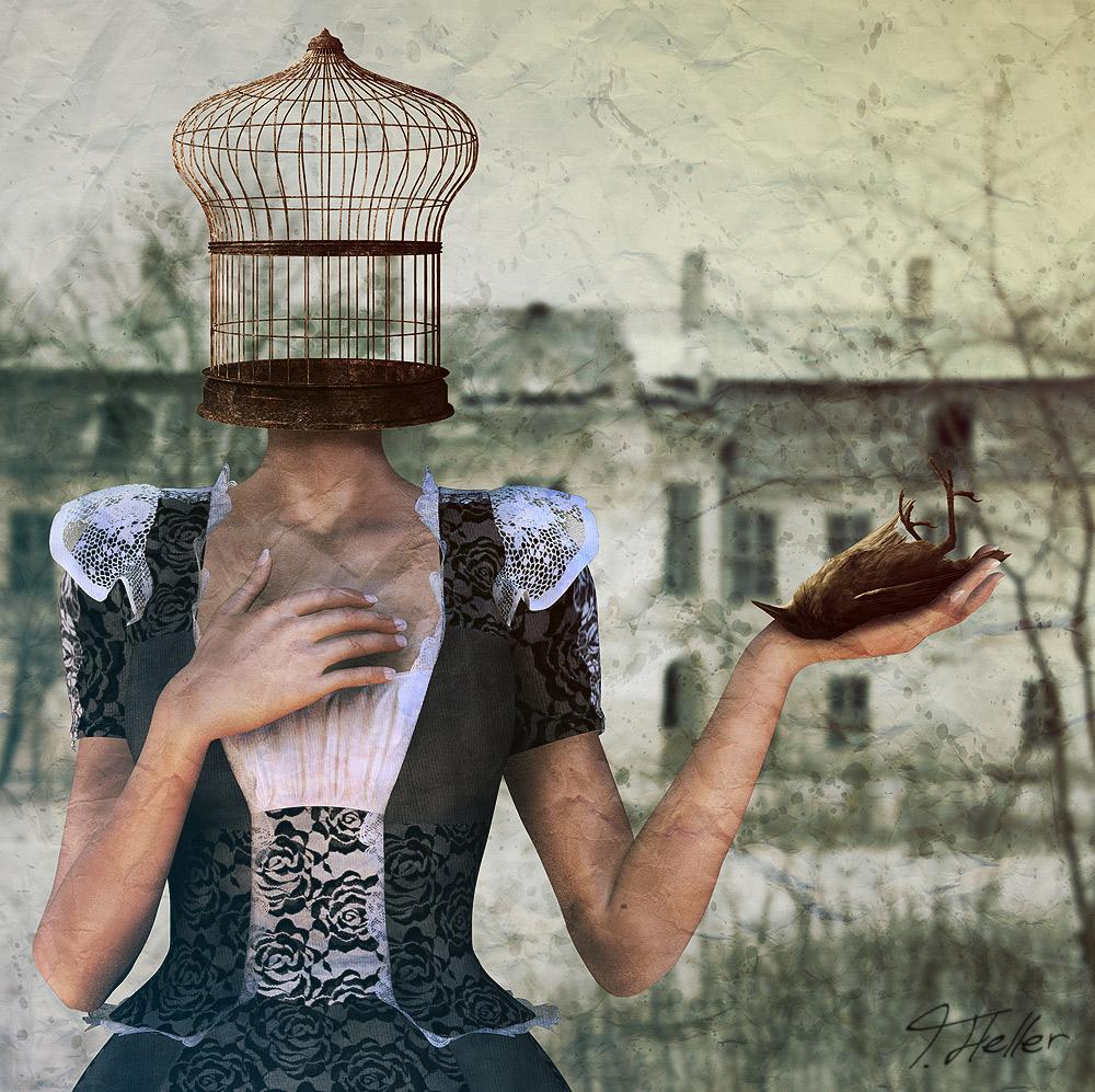 poser photoshop photomanipulation käfig vogel frau kleid vintage haus foto tier surreal