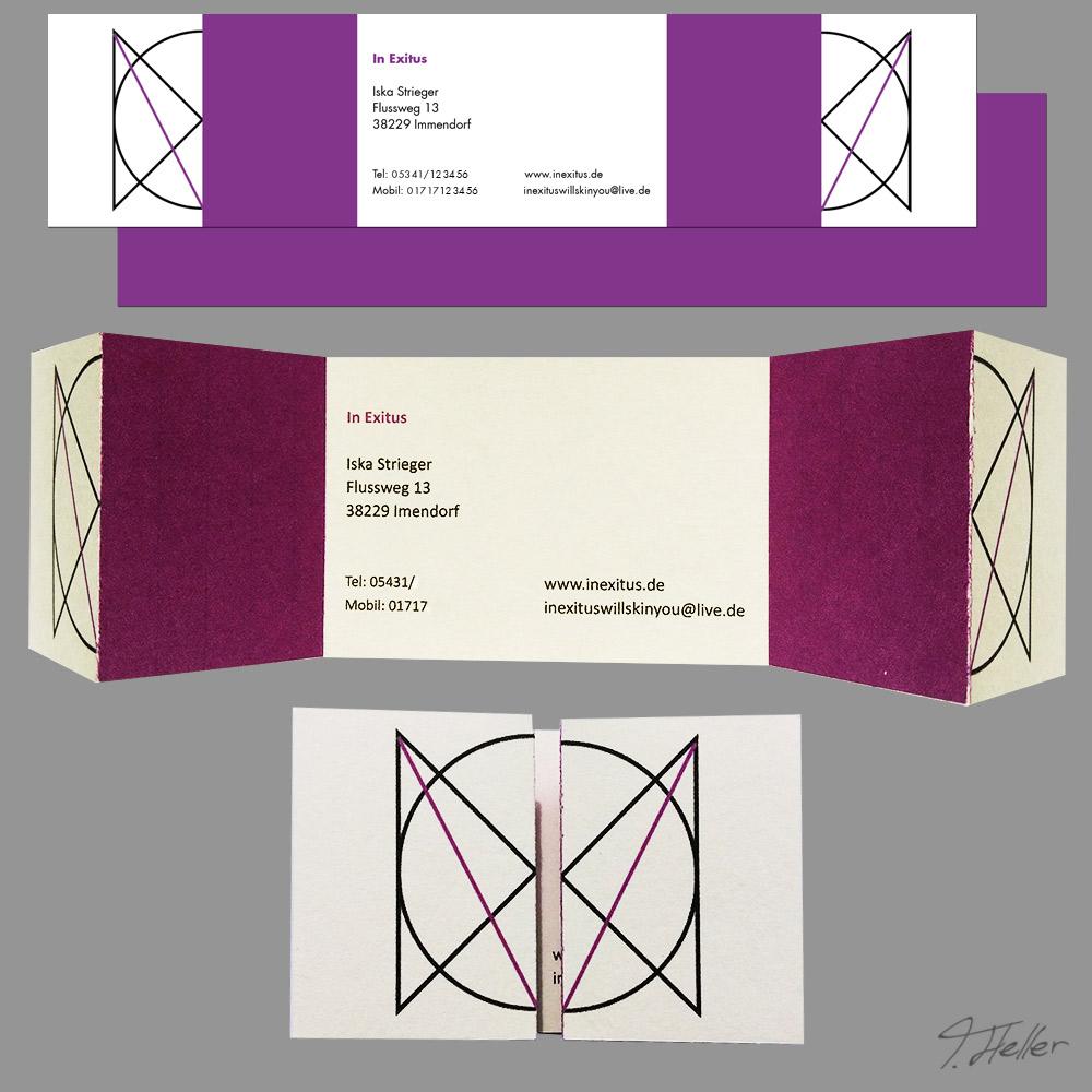 in exitus metal band schwedisch kreuz düster album musik release branding illustration poster fiktiv merchandise print medien ci cd bürobedarf visitenkarte lila logo