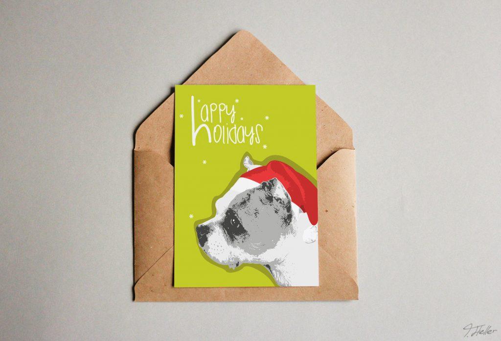 weihnachten 2017 braunschweig mangodesign hund dog mütze hat christmas weihnachten green red terrier illustration