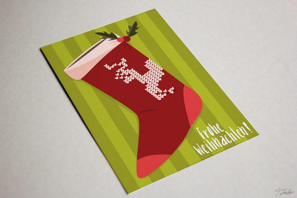 weihnachten 2017 mangodesign braunschweig illustration sock socke christmas green red reindeer rentier knit strick beeren blätter streifen frohes fest
