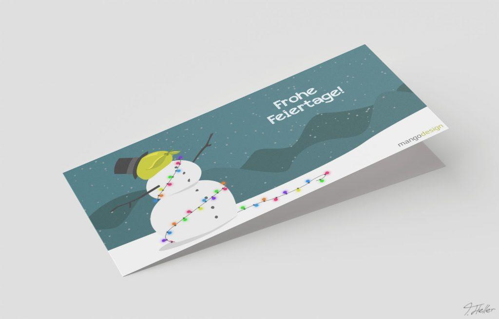 weihnachten christmas 2017 mangodesign braunschweig schneemann schnee snow lights lichterkette bunt himmel illustration skyline kette berge mango green blue