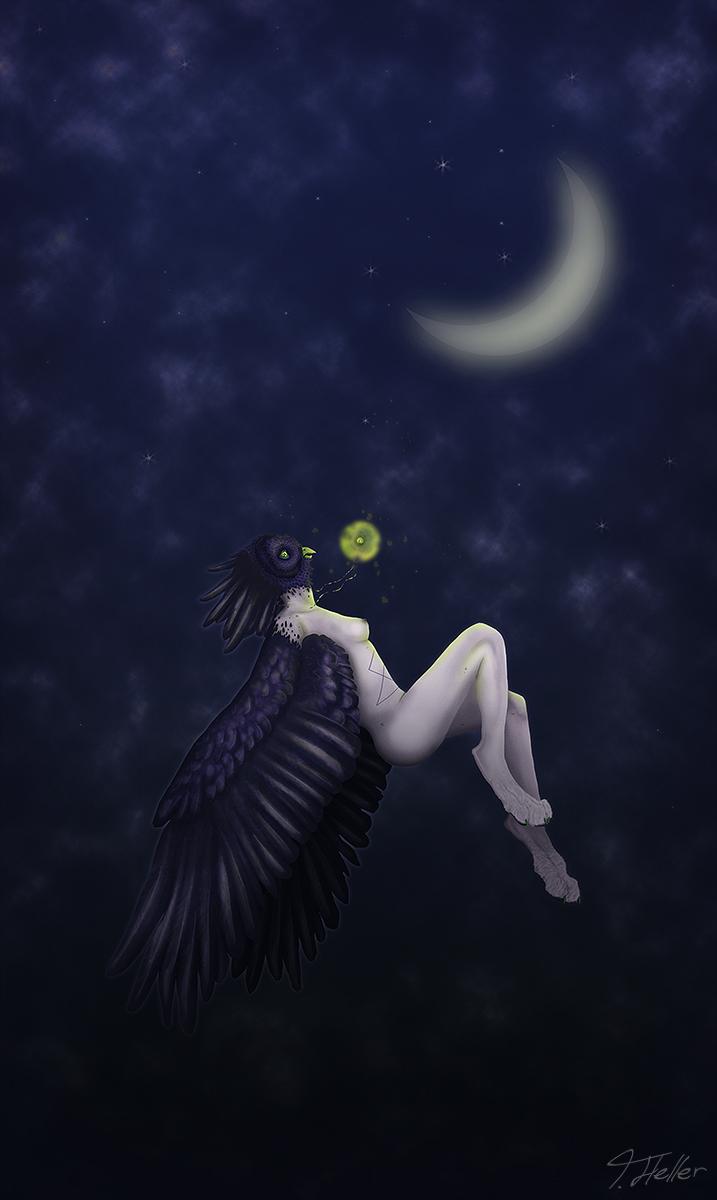 owl eule owlaplexus wing flügel moon mond glow glühen mensch fursona digital art human mensch race mix