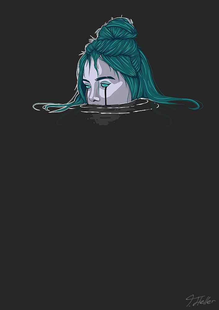 billie eilish ocean eyes digital drawing digitalekunst kunst digital procreate blue illustrationn blau musik music water wasser dark dunkel