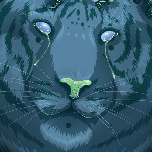 Gatekeeper as i lay daying tiger crystals kristall shine licht dunkel pflanzen dark plants green blue grün blau feline katze fur fell digitale zeichnung digital art illustration